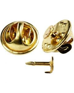 Clutch Pin Findings, D: 11,5 mm, gold-plated, 25 pc/ 1 pack