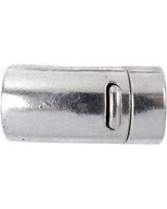 Magnetic Clasp, D: 26 mm, hole size 10 mm, antique silver, 1 pc