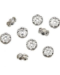 Rhinestone Rondelles, D: 8 mm, hole size 2 mm, silver-plated, 5 pc/ 1 pack