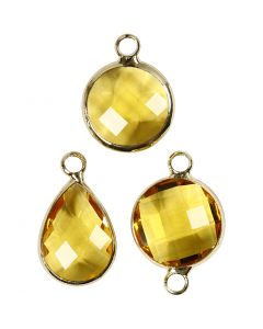 Jewellery Pendant, H: 15-20 mm, hole size 2 mm, yellow, 1 pack