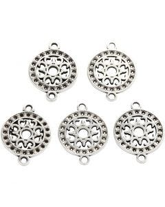 Jewellery Pendant, D: 14 mm, hole size 1,2 mm, silver-plated, 5 pc/ 1 pack