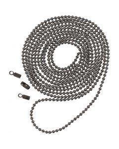Bead Chain, D: 1,5 mm, dark grey metallic, 1 m