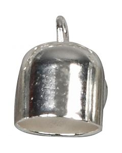 End Caps, L: 11 mm, D: 8 mm, silver-plated, 6 pc/ 1 pack