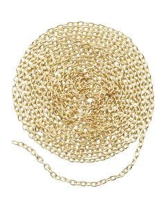 Chain, W: 2 mm, gold-plated, 20 m/ 1 pack