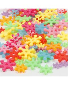 Novelty Shape Beads, D: 7-13,5 mm, hole size 2 mm, assorted colours, 125 ml/ 1 pack, 50 g