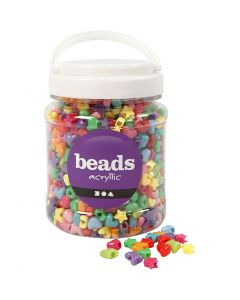 Novelty Shape Beads, D: 10 mm, hole size 3,5 mm, assorted colours, 700 ml/ 1 tub, 400 g