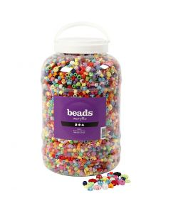 Bucket of Plastic Beads, size 6-20 mm, hole size 1,5-6 mm, 5700 ml/ 1 bucket, 3000 g