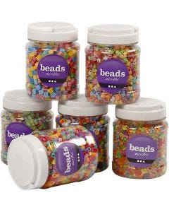 Bead Mix, size 7-10 mm, hole size 2-4 mm, 2400 g, assorted colours, 6x700 ml/ 1 pack