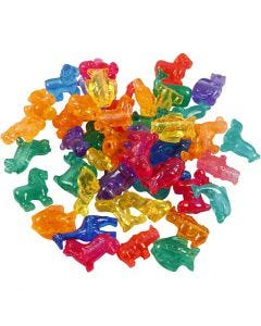 Novelty Shape Beads, size 25 mm, hole size 4 mm, 1000 g, assorted colours, 2000 ml/ 1 tub