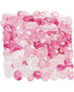 Faceted Bead Mix, size 4-12 mm, hole size 1-2,5 mm, pink (081), 250 g/ 1 pack