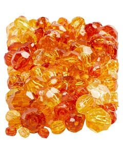 Faceted Bead Mix, size 4-12 mm, hole size 1-2,5 mm, yellow (32227), 250 g/ 1 pack