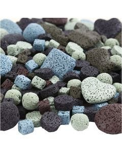 Lava Bead Mix, size 6-37 mm, hole size 1+2 mm, Content may vary , assorted colours, 20 strands/ 1 pack