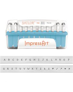 Embossing Stamps, size 4 mm, Font: Sailor , 33 pc/ 1 set