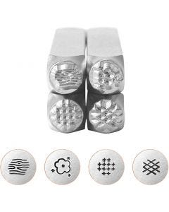 Embossing Stamps, Graphic pattern 2, L: 65 mm, size 6 mm, 4 pc/ 1 set