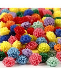 Flower Beads, size 15x8 mm, hole size 1,5 mm, assorted colours, 10x25 pc/ 1 pack, 300 ml
