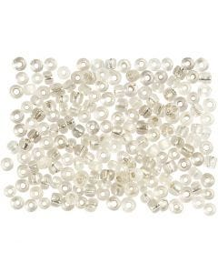 Rocaille Seed Beads, D: 3 mm, size 8/0 , hole size 0,6-1,0 mm, silver, 500 g/ 1 pack