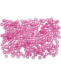 Rocaille Seed Beads, D: 3 mm, size 8/0 , hole size 0,6-1,0 mm, pink, 500 g/ 1 pack