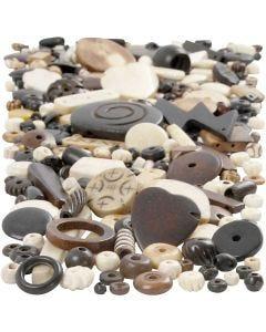 Bone Bead Mix, size 5-30 mm, hole size 1-2 mm, 300 g/ 1 pack