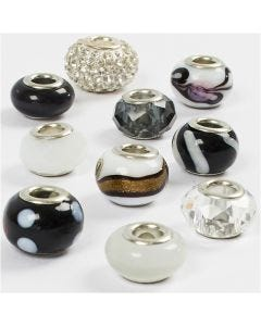 Glass Charm Beads, D: 13-15 mm, hole size 4,5-5 mm, black/white harmony, 10 asstd./ 1 pack