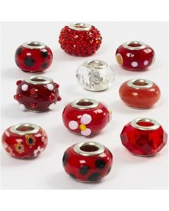 Glass Charm Beads, 10 asstd./ 1 pack