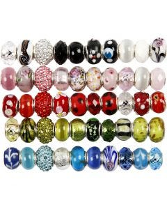 Glass Charm Beads, 50 asstd./ 1 pack