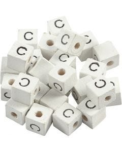 Letter Bead, C, size 8x8 mm, hole size 3 mm, white, 25 pc/ 1 pack