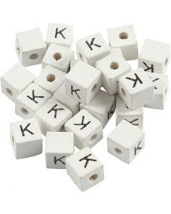 Letter Bead, K, size 8x8 mm, hole size 3 mm, white, 25 pc/ 1 pack