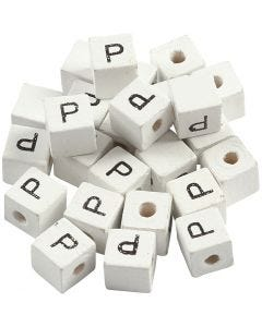 Letter Bead, P, size 8x8 mm, hole size 3 mm, white, 25 pc/ 1 pack