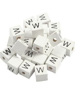 Letter Bead, W, size 8x8 mm, hole size 3 mm, white, 25 pc/ 1 pack