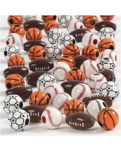 Sports Beads, size 11-15 mm, hole size 3-4 mm, assorted colours, 45 g/ 1 pack