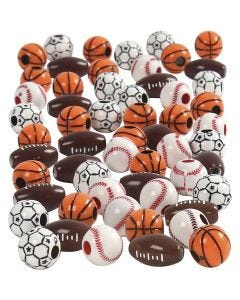 Sports Beads, size 11-15 mm, hole size 3-4 mm, assorted colours, 270 g/ 1 pack
