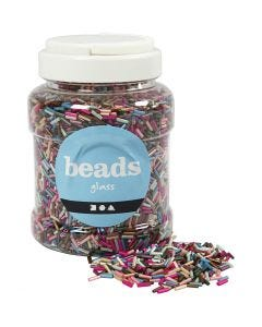 Bead Mix, L: 6 mm, D: 1,5-2 mm, hole size 1 mm, metallic colours, 520 g/ 1 tub