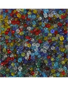 Rocaille Seed Beads, D: 4 mm, size 6/0 , hole size 0,9-1,2 mm, Gloss transparent, 130 g/ 1 pack