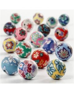 Clay Beads, D: 10 mm, hole size 1 mm, assorted colours, 40 asstd./ 1 strand