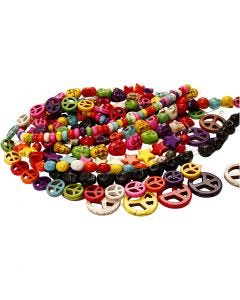 Howlite Beads, D: 12-15 mm, hole size 1,5 mm, black, bold colours, 8 strands/ 1 pack