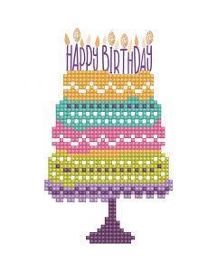 Diamond Dotz, Happy B'day Cake, card size 12,6x17,7 cm, envelope size 13,6x18,6 cm, 1 pack