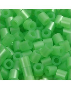 Fuse Beads, size 5x5 mm, hole size 2,5 mm, medium, green mother-of-pearl (32240), 1100 pc/ 1 pack