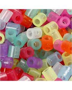 Fuse Beads, size 5x5 mm, hole size 2,5 mm, medium, glitter colours, 6000 asstd./ 1 pack