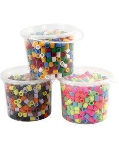 Fuse Beads, size 10x10 mm, hole size 5,5 mm, JUMBO, assorted colours, 3x550 asstd./ 1 pack