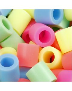 Fuse Beads, size 10x10 mm, hole size 5,5 mm, JUMBO, pastel colours, 3200 asstd./ 1 pack