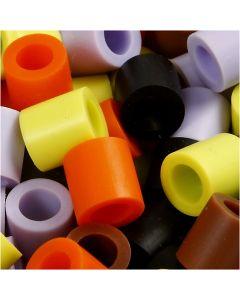 Fuse Beads, size 10x10 mm, hole size 5,5 mm, JUMBO, autumn mix, 550 asstd./ 1 pack