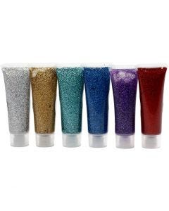 Glitter Gel, assorted colours, 6x18 ml/ 1 pack