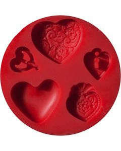 FIMO push mould, hearts, D: 7 cm, 1 pc