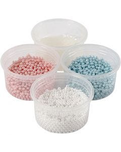 Pearl Clay®, light blue, light red, off-white, 1 set, 3x25+38 g