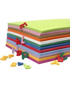 EVA Foam Letters & Numbers, H: 20 mm, assorted colours, 24 ass sheets/ 1 pack
