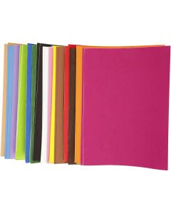 EVA Foam Sheets, A4, 210x297 mm, thickness 2 mm, 30 ass sheets/ 1 pack