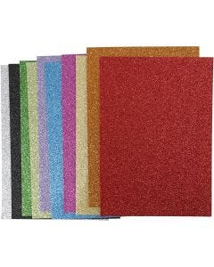 EVA Foam Sheets, A4, 210x297 mm, thickness 2 mm, glitter, assorted colours, 10 ass sheets/ 1 pack