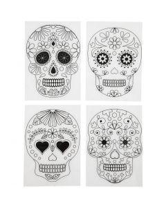 Shrink Plastic Sheets with motives, Skulls, 10,5x14,5 cm, matt transparent, 4 sheet/ 1 pack