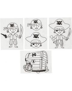 Shrink Plastic Sheets with motives, pirates, 10,5x14,5 cm, matt transparent, 4 sheet/ 1 pack