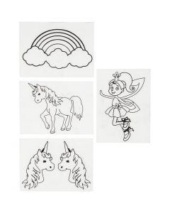 Shrink Plastic Sheets with motives, unicorn, 10,5x14,5 cm, matt transparent, 4 sheet/ 1 pack